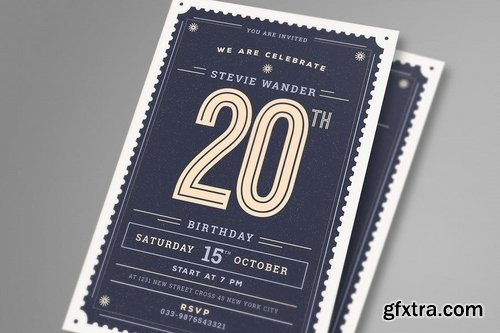 Vintage Birthday Party Invitation Card