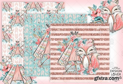 Boho Fox digital paper pack