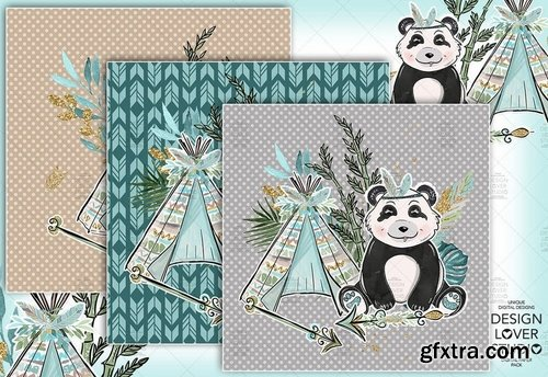 Boho Panda digital paper pack