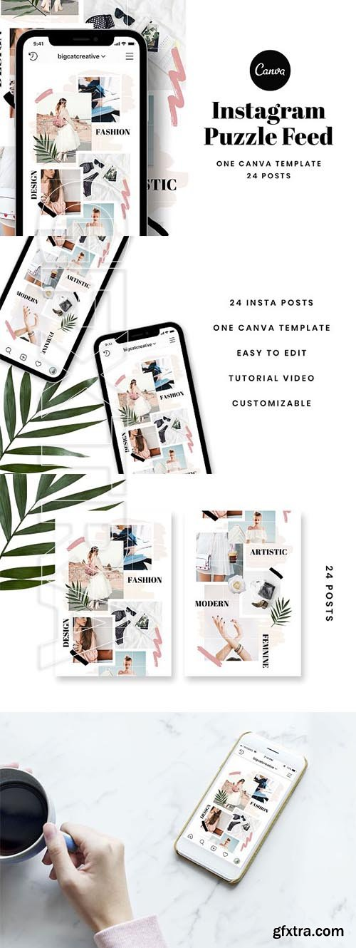 CreativeMarket - Instagram Puzzle Feed Template 3328620