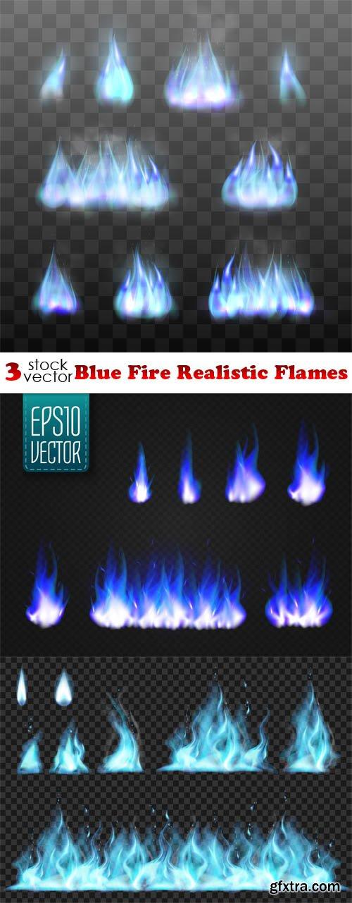Vectors - Blue Fire Realistic Flames