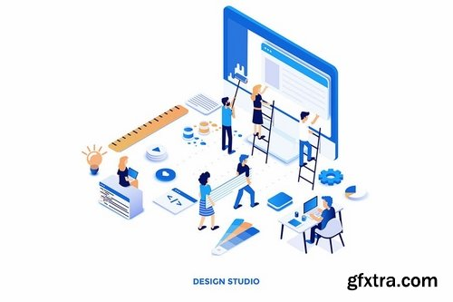 Modern flat design isometric illustrations