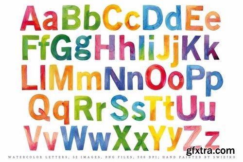 Watercolor Alphabet, happy rainbow colors