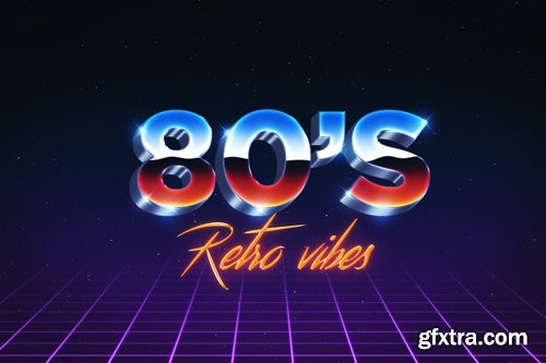 PSD Text Effect - 80's Style
