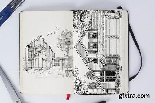Person Sketch Book Mock Up