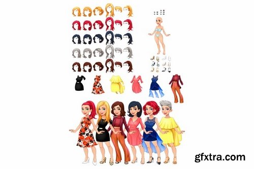 Dresses and hairstyles game. Vector illustration