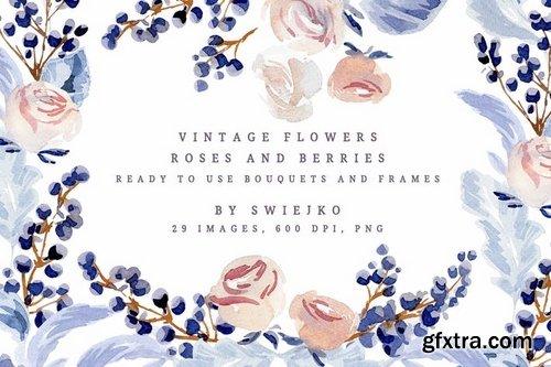 Vintage Watercolor Flowers, Roses and Berries