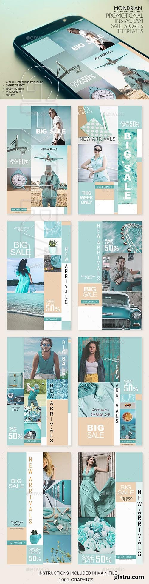 GraphicRiver - 8 Mondrian Insta-Stories Sale PSD Templates 23116580