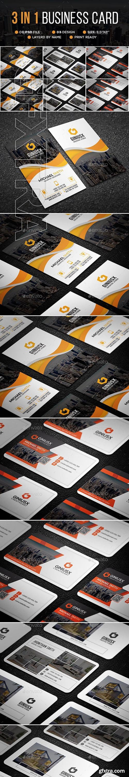 GraphicRiver - 3 in 1 Business Card Bundle 23117698