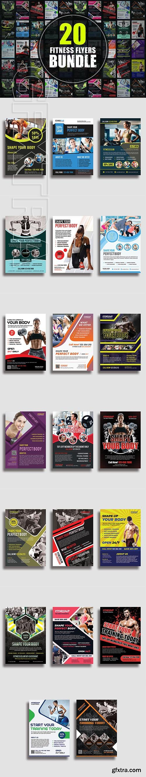 CreativeMarket - 20 Fitness Flyers Bundle 3340415