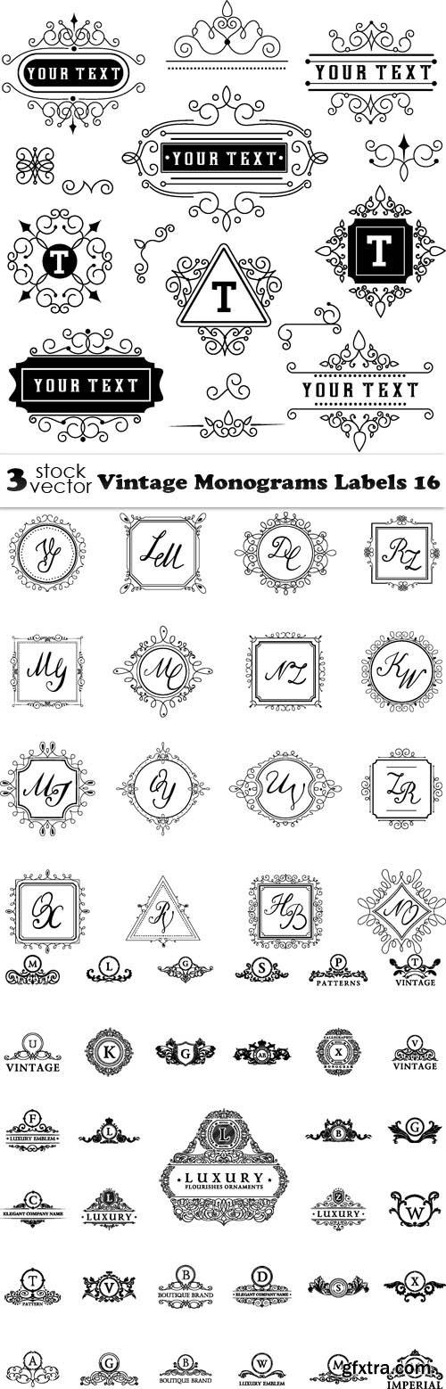 Vectors - Vintage Monograms Labels 16