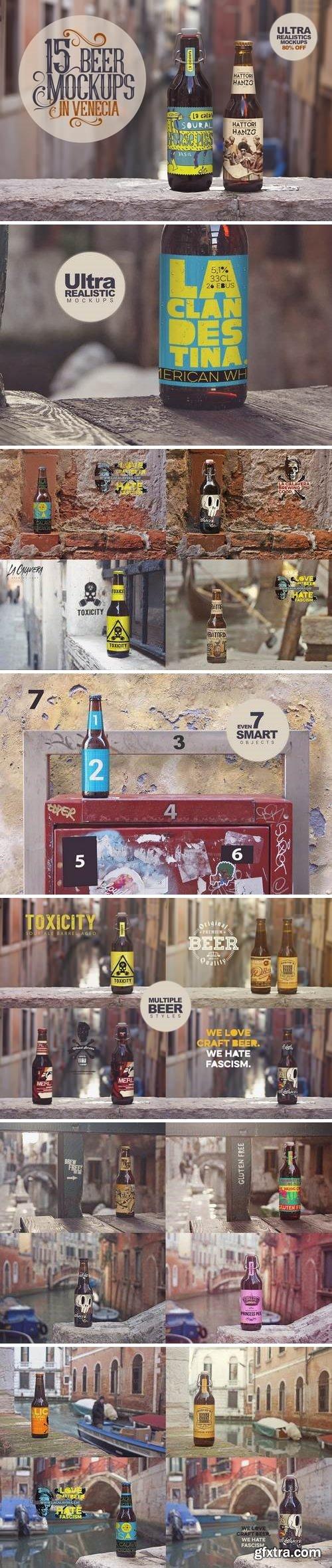 15 Beer Mockups in Venetian