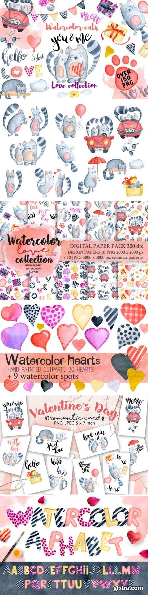 CM - Watercolor Valentines day cats 1179103