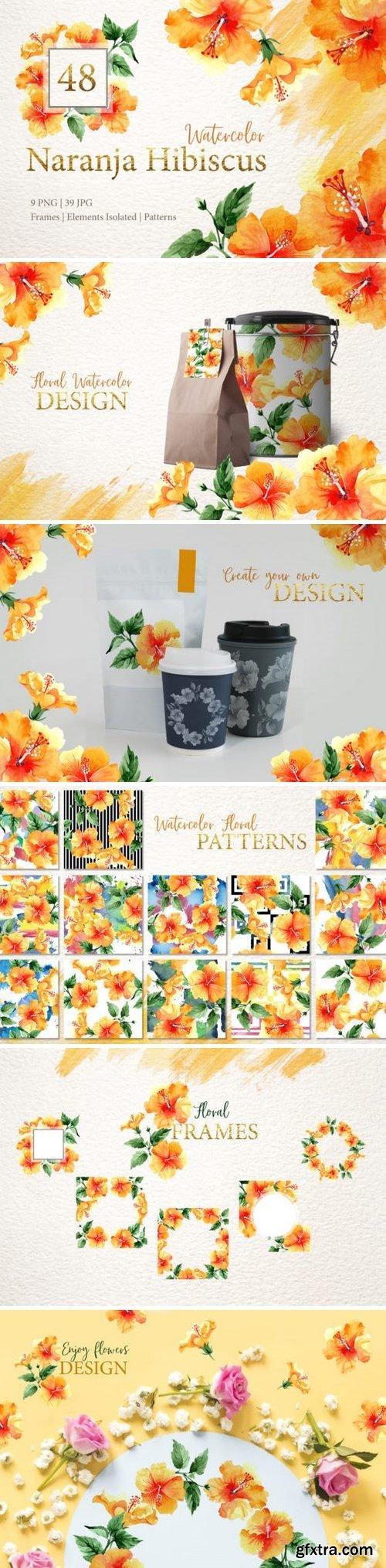 CM - Naranja Hibiscus Watercolor png 3360626