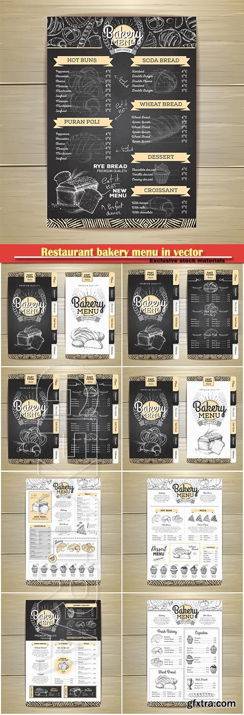 Restaurant chalk drawing bakery menu in vector