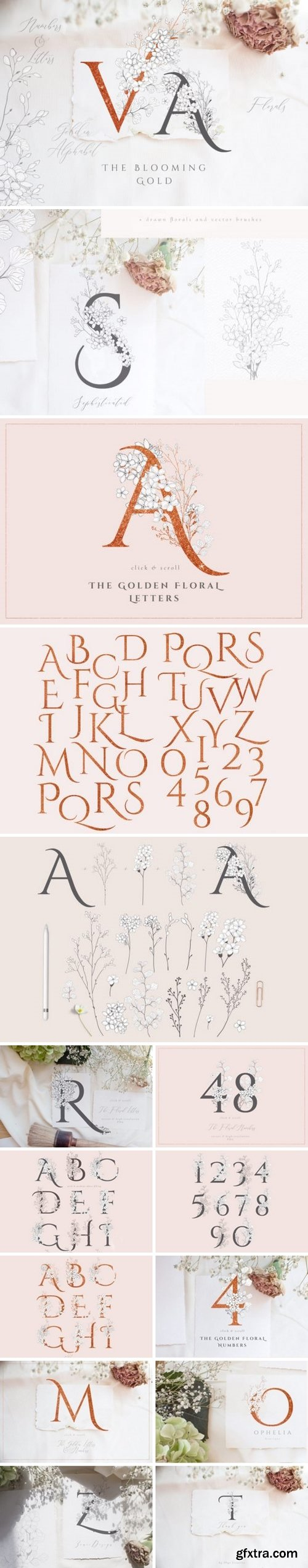 CM - Blooming Gold Floral Letters Numbers 3363580