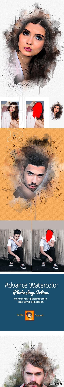 GraphicRiver - Advance Watercolor Photoshop Action 23055125