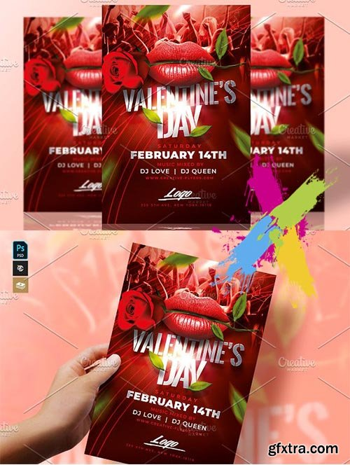 CreativeMarket - Valentines Day Flyer Psd 3331188
