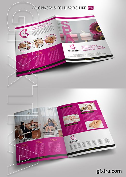 CreativeMarket - Salon Spa Bi-Fold Brochure Template 3308873