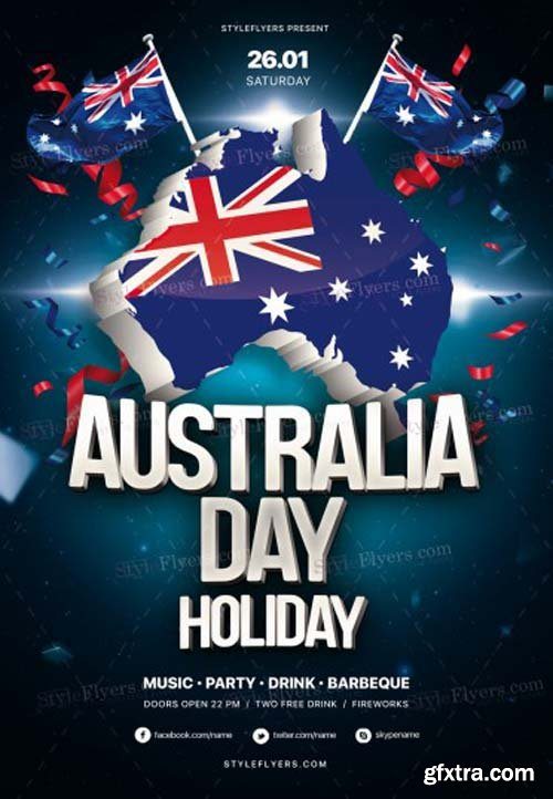 Australia Day Holiday V7 2018 PSD Flyer Template