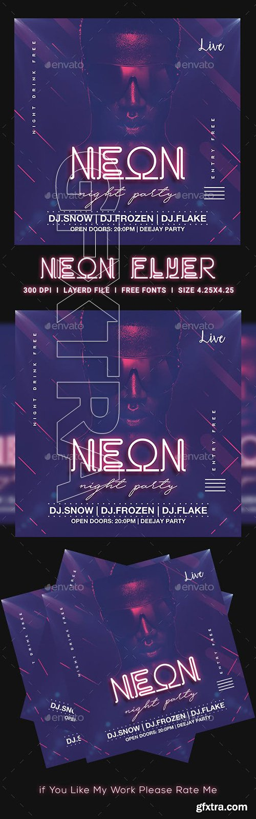 GraphicRiver - Neon Party Flyer 23147249
