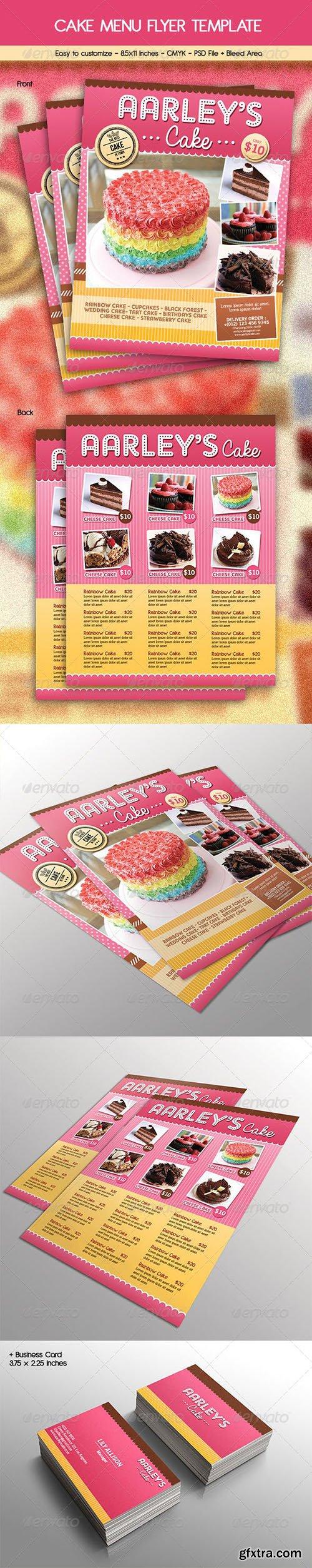 Cake Menu Flyer + Business Card 6784299