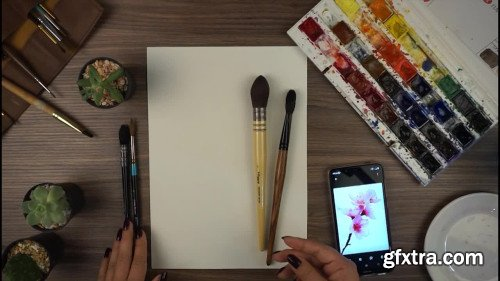 How to paint Cherry Blossom in Watercolor: step by step guide to aquarelle FLOWERS