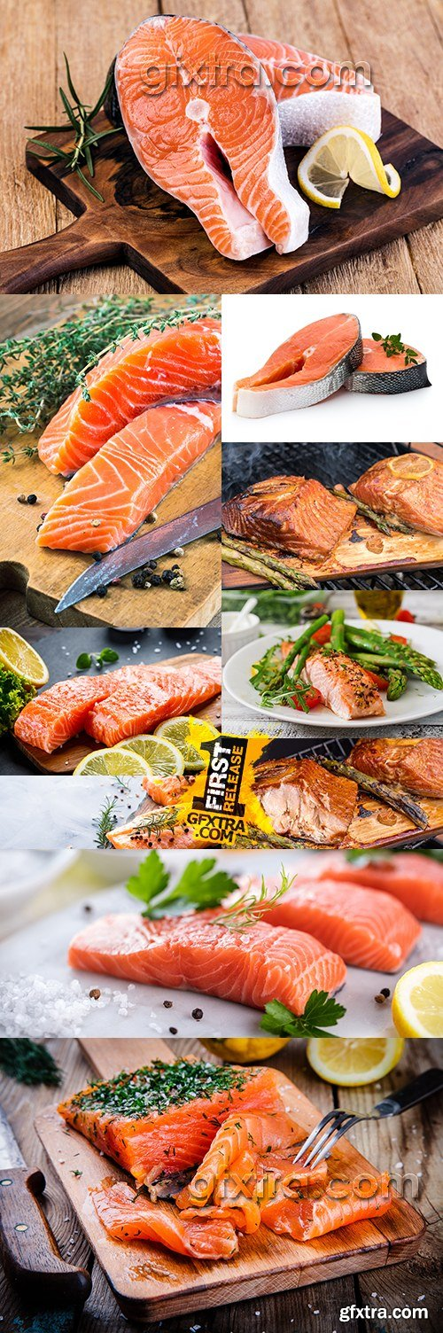 Salmon fillet with spices lemon and rosemary healthy food