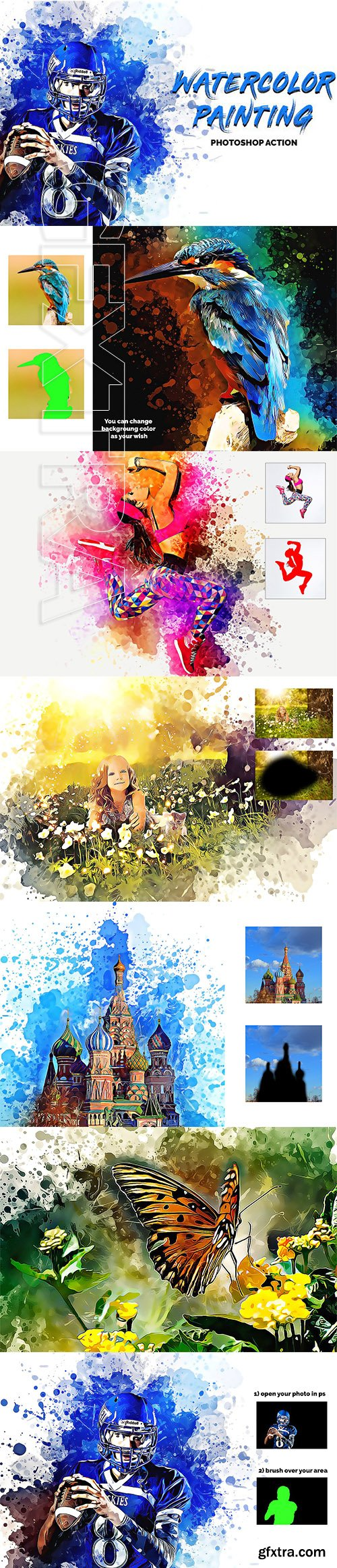 CreativeMarket - Watercolor Painting Photoshop Action 3365167