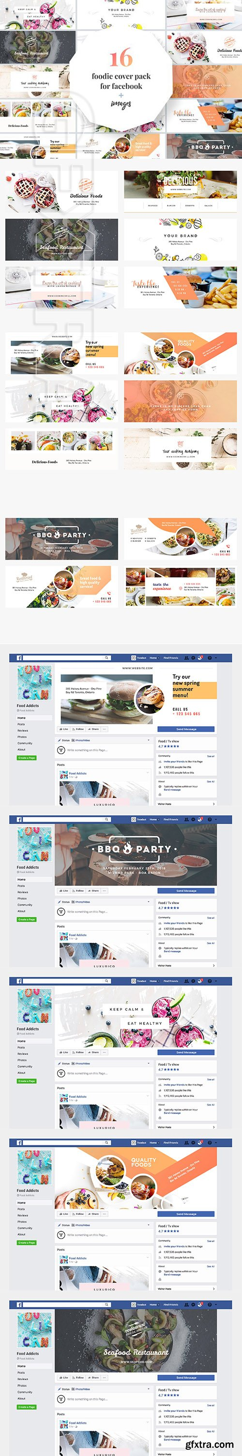 CreativeMarket - Foodie Facebook Cover Pack 2285579