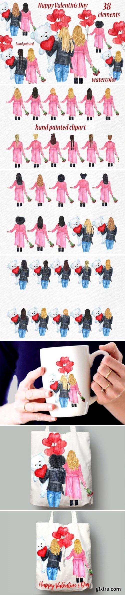 CM - Valentines Day Girls Clipart 3370873