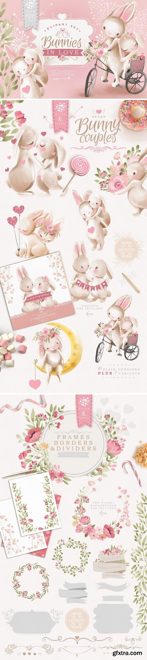 CM - Bunnies In Love Clipart Set 3247077