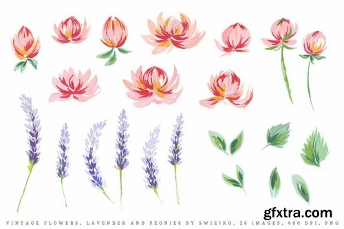 Vintage Flowers, Lavender and Peonies