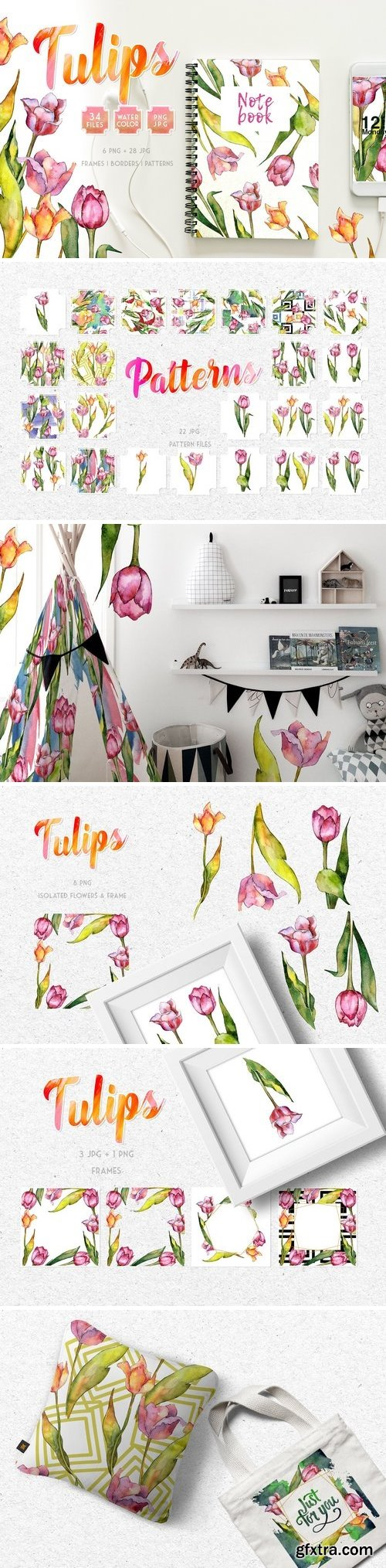 CM - Tulips for Love Watercolor png 3357911