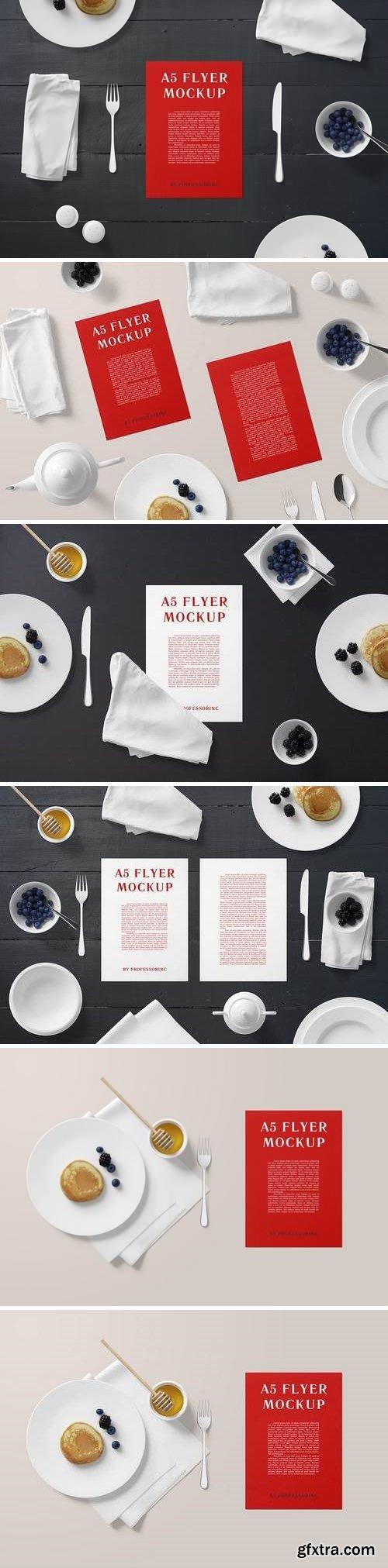 A5 Portrait Flyer Mockup - Breakfast Set