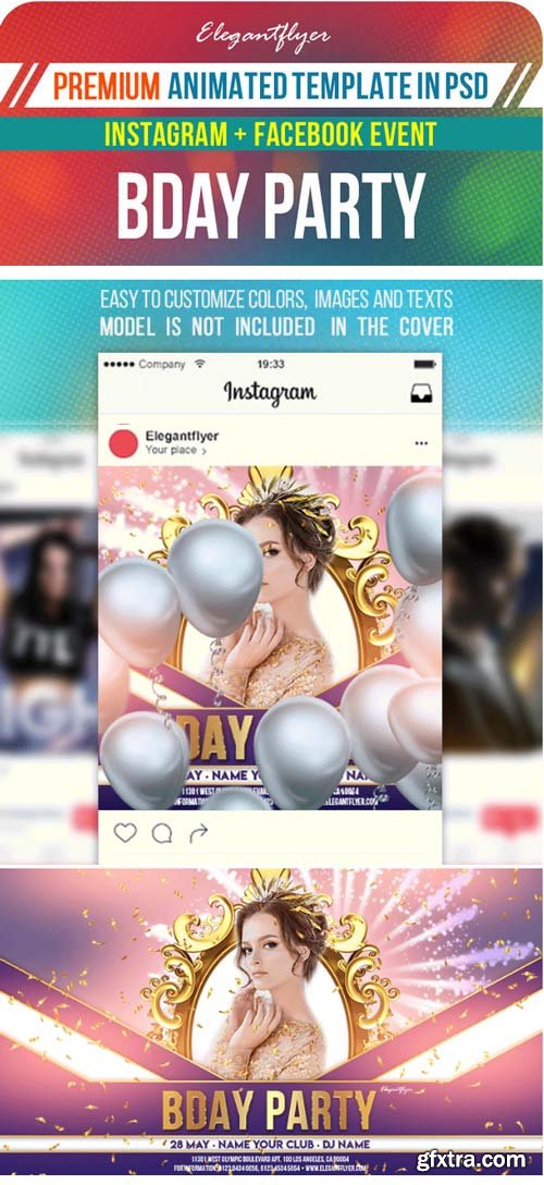 Birthday Party V2 2019 Animated Instagram + Facebook Flyer Template