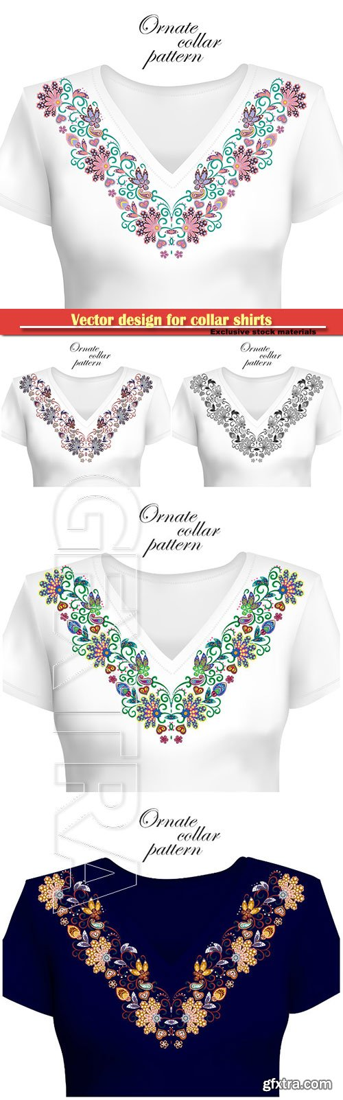 Vector design for collar shirts, ethnic flowers neck