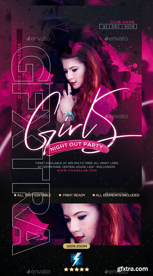 GraphicRiver - Girls Party Flyer 23136213