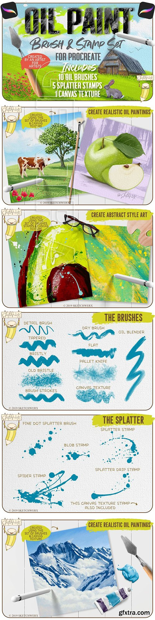 CreativeMarket - Oil Paint Brush & Stamp Set 3378608