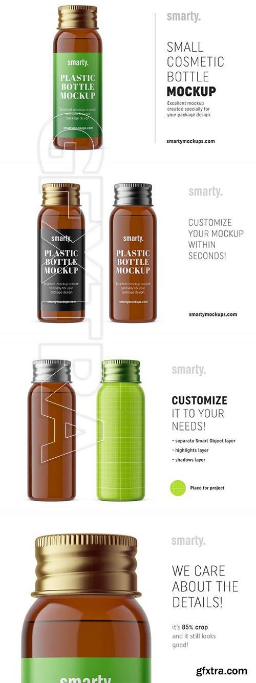 CreativeMarket - Silver cap bottle mockup amber 3339480