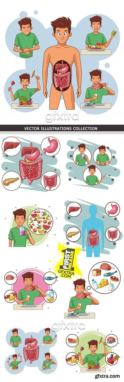 Anatomy digestive organs person cartoon illustration