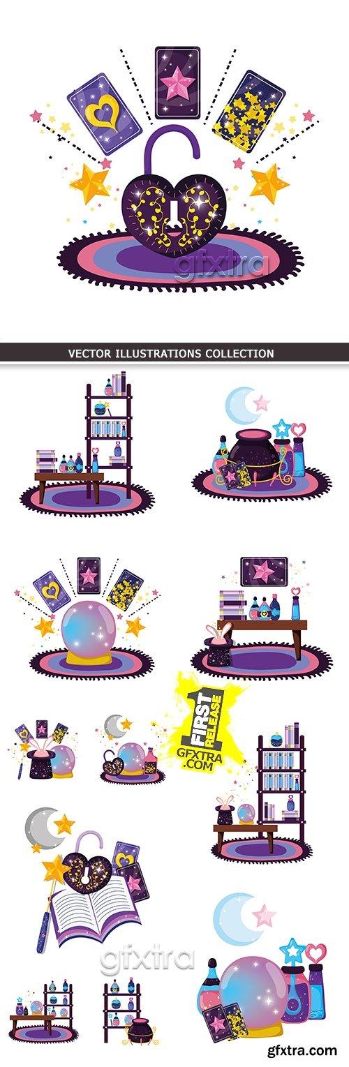 Astrology magic mystical objects and symbols