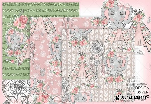 Boho Elephant Cute digital paper pack