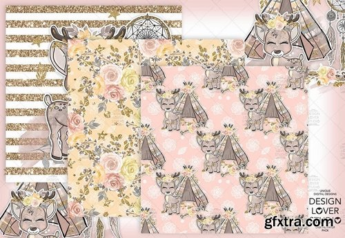 Boho deer Cute digital paper pack