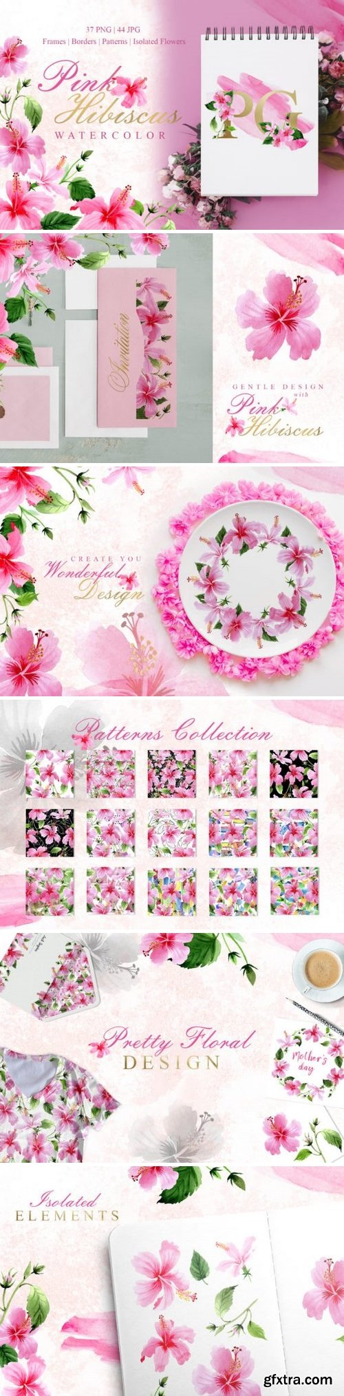 CM - Pink Hibiscus Watercolor png 3357013