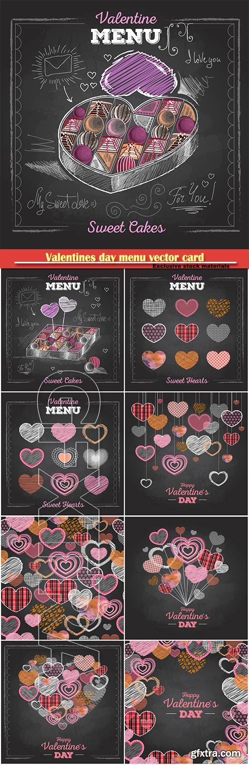 Valentines day menu vector card