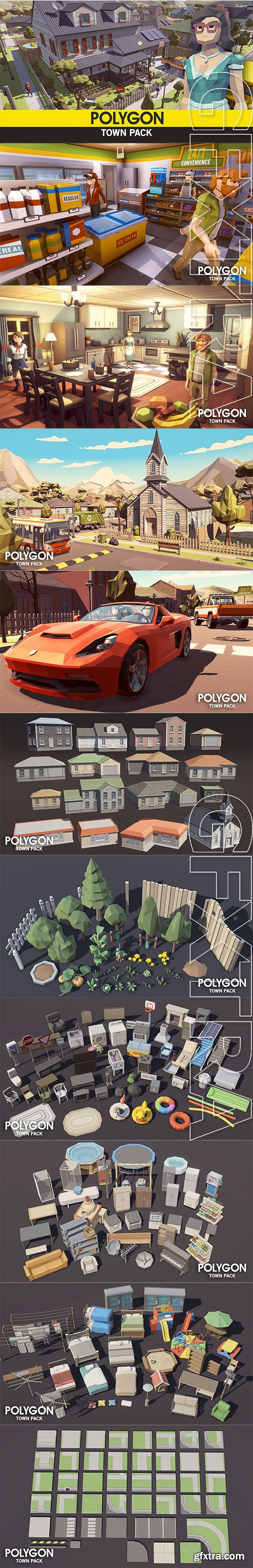 Cgtrader - POLYGON - Town Pack Low-poly 3D model
