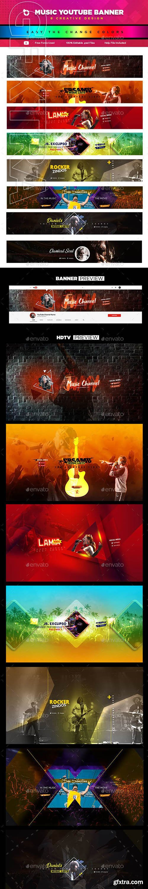 GraphicRiver - 8 Creative Music YouTube Banners 23143457