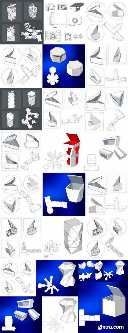 Box to cut a figure of origami gift box cardboard container 2-25 EPS