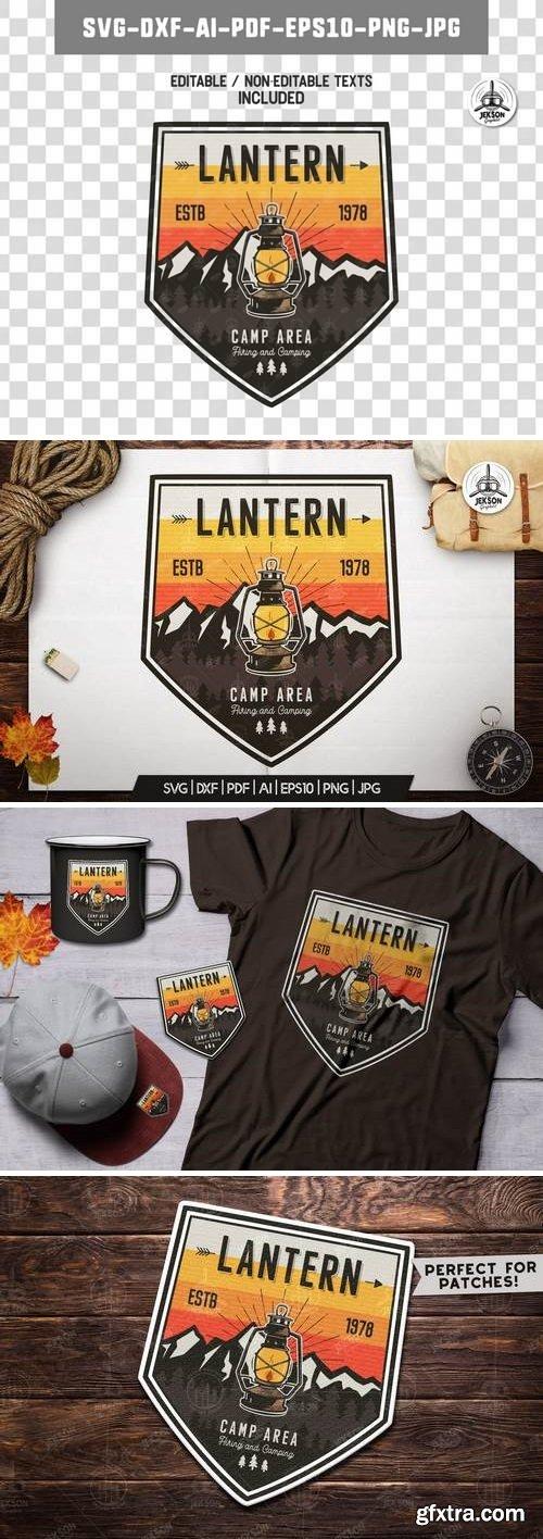 Camp Lantern Badge / Vintage Travel Logo Patch SVG